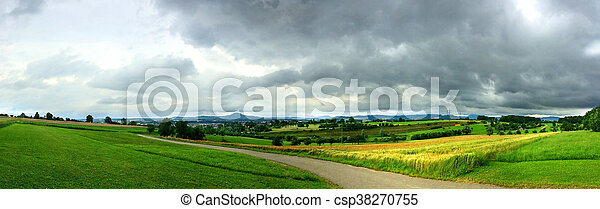 panoramic view to the Swabian highlands in Germany - csp38270755