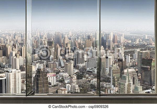 Ville grand panoramique fen tre gentil vue image de for Building sans fenetre new york