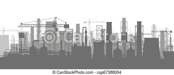 panoramique, industriel, silhouette, paysage. - csp67388004