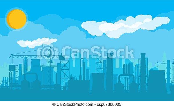 panoramique, industriel, silhouette, paysage. - csp67388005