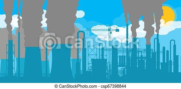 panoramique, industriel, silhouette, paysage. - csp67398844