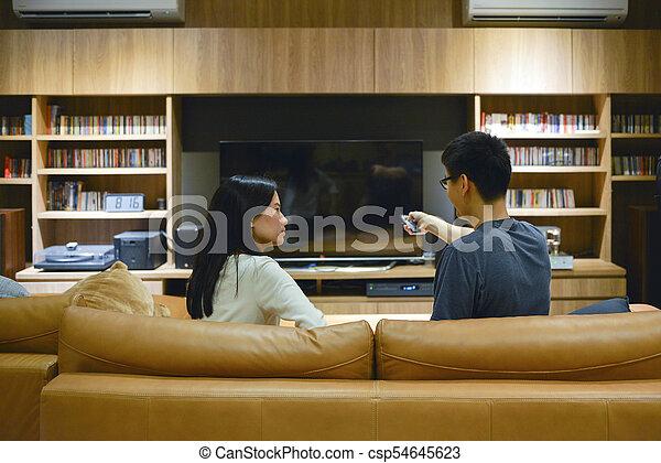panowanie, oddalony, telewizja, para, obrót, asian, czysty, używając, ekran - csp54645623
