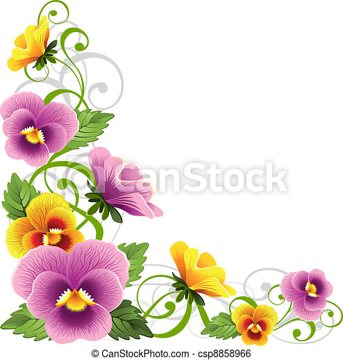 Pansy. Gentle floral design element with pansy. Pink And Green Ladybug Clipart