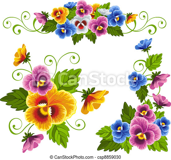pansy set of gentle floral patterns with pansy drawn with no rh canstockphoto com pansy drawing clipart purple pansy clip art