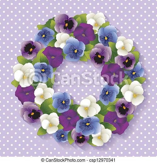 Pansy Wreath, Pastel Lavender - csp12970341