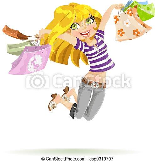 pantalló, bevásárlás, shopaholic, háttér, leány, fehér - csp9319707