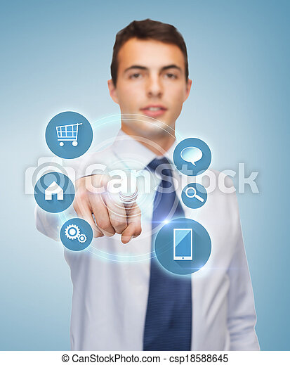 pantalla, buisnessman, virtual, señalar el dedo - csp18588645