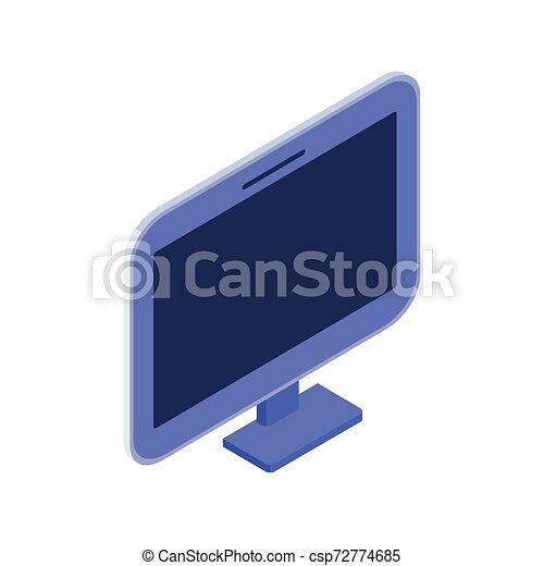 Pantalla de ordenador 3D sobre fondo blanco - csp72774685