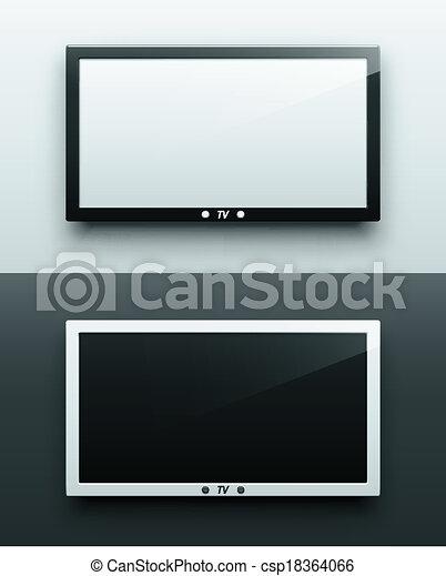 Pantalla de TV colgando - csp18364066