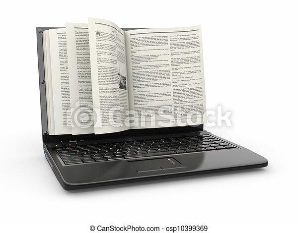 Aprender. Pantalla portátil como libro sobre fondo blanco. - csp10399369