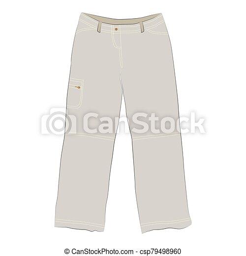 pantalones, blanco, hombres, beige, mujeres, plano de fondo, unisex - csp79498960