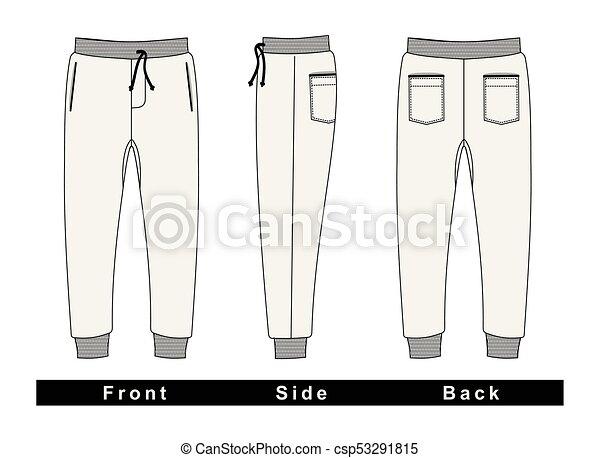 Pantalones de hombre colores blancos. Vector - csp53291815