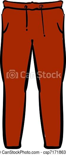 Pantalones rojos, ilustración, vector de fondo blanco. - csp71718637