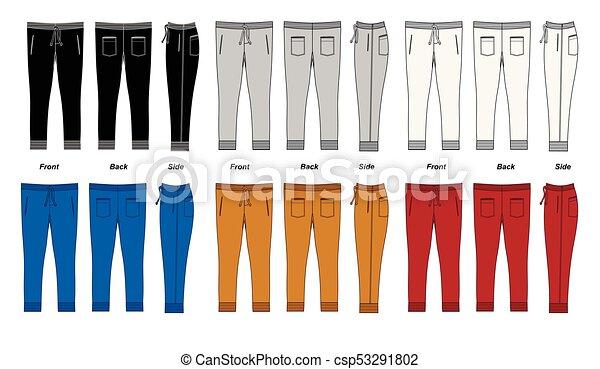 Los pantalones de los hombres son coloridos. Imágenes de vector - csp53291802