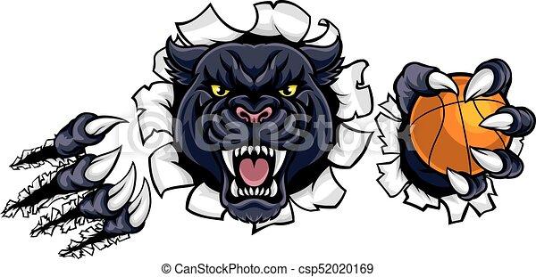 La mascota del baloncesto de la pantera negra - csp52020169