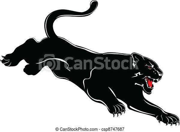 Imagen, vector, negro, atacar, pantera.
