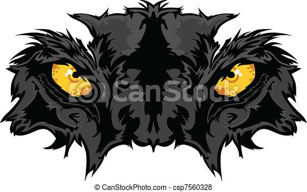 pantera, occhi, grafico, mascotte - csp7560328