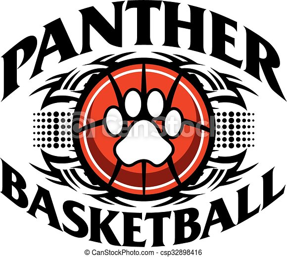 Tribal Panther Basketball Team Design With Paw Print For School