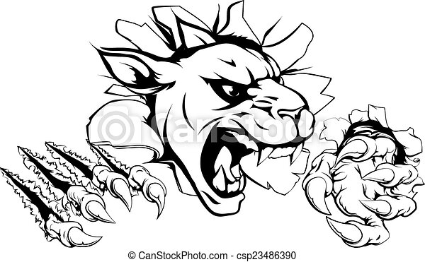 panther claw breakthrough a scary panther mascot ripping eps rh canstockphoto com Biggest Panther Black Panther Animal