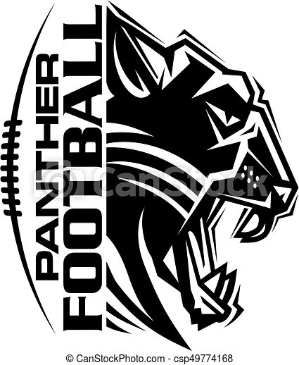 Panther Football Team Design With Mascot And Laces For School