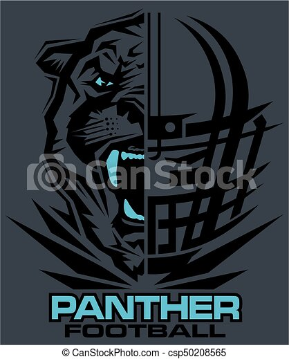Panther football team design with mascot and facemask for ...  Panther footbal...