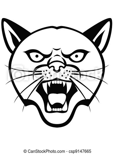 panther head tattoo rh canstockphoto com  panther head clipart
