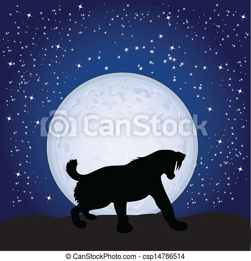 panther on the moonlight vector illustration - csp14786514