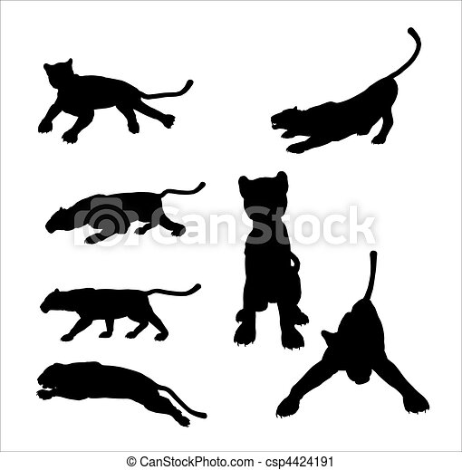 Panther Silhouettes - csp4424191
