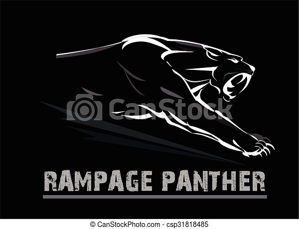 panther,fang face muscular panther. - csp31818485