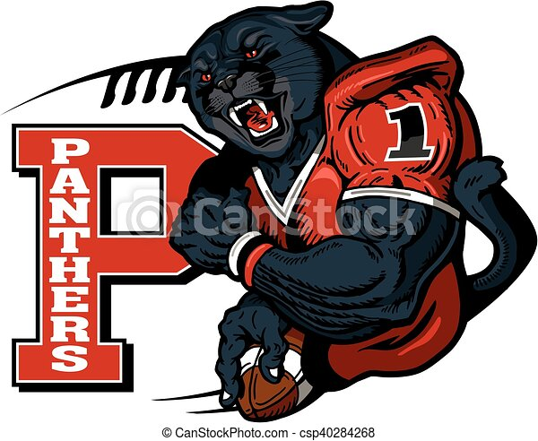 Panthers football player mascot holding ball for school ...  Panthers footba...