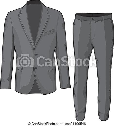 Abrigo de ropa masculina y pantalones. Vector - csp21199546