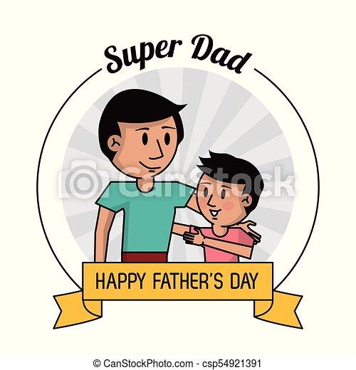 Papá Dad Tarjeta Padres Abrazar Hijo Súper Imagen Día