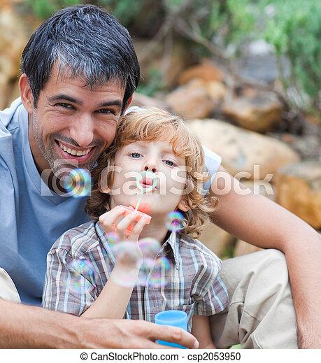 papa, bulles, souffler, fils - csp2053950