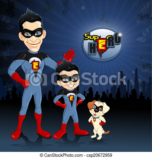 papa, chien, superheroes, fils - csp20672959