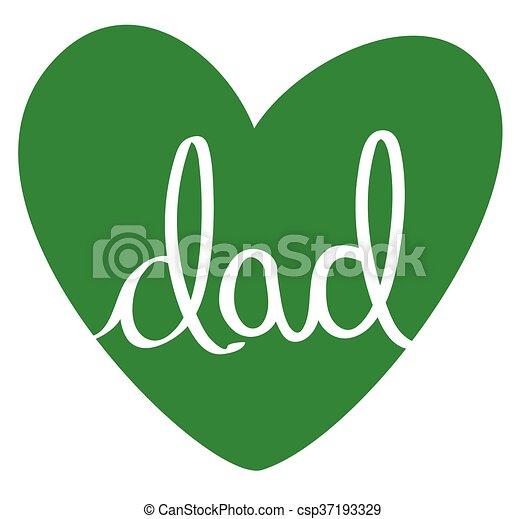 papa, coeur, vert - csp37193329