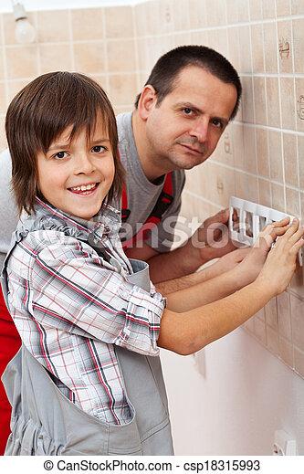 papa, garçon, sien, fonctionnement, -, père, portion - csp18315993