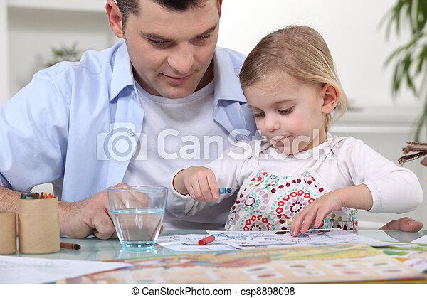 papa, girl, coloration, jeune - csp8898098