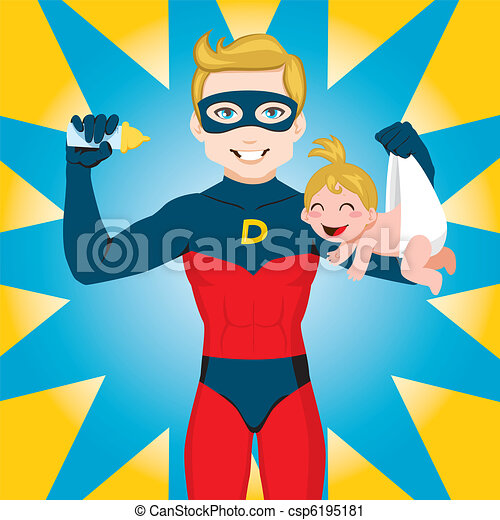papa, héros super - csp6195181