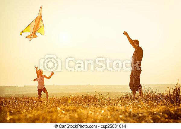 papa, laisser, sien, fille, cerf volant - csp25081014