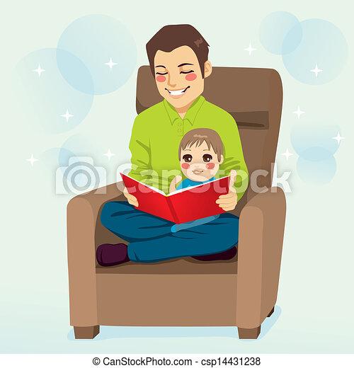 papa, lecture, fils - csp14431238