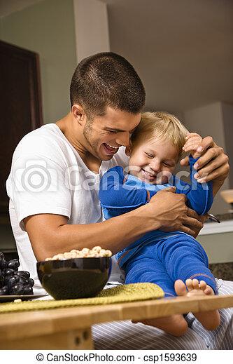 papa, son., chatouiller - csp1593639