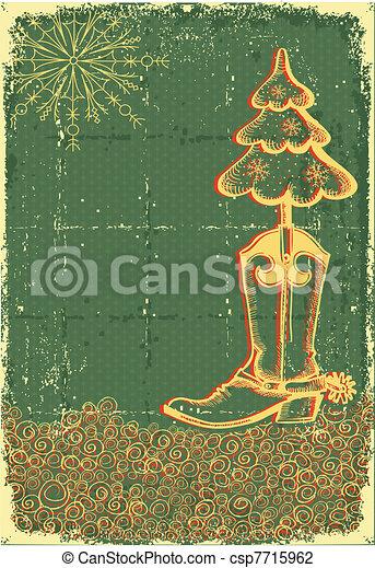 papaer, gamle, cowboy, vinhøst, fir-tree, bagagerummet, tekstur, grønne, tekst, card christmas - csp7715962