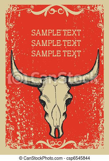 papaer, oud, schedel, cowboy, .retro, tekst, beeld, achtergrond, stier - csp6545844