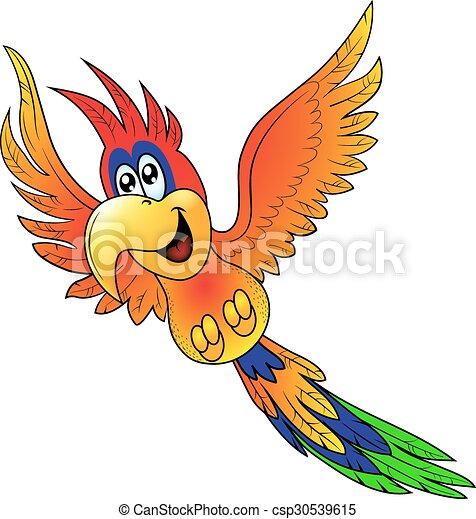 papagai, fröhlich, fliegendes, isoliert - csp30539615
