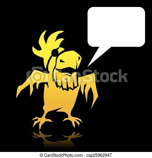 Papagaio Espaco Texto Zangado Amarela Caricatura Pirata