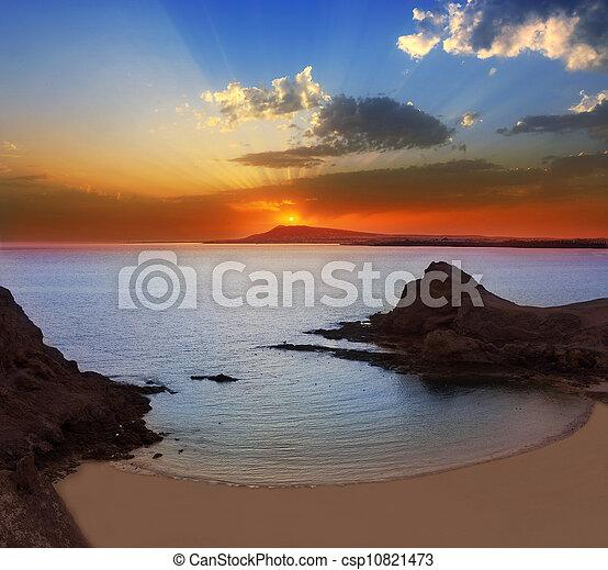 papagayo, praia, lanzarote, pôr do sol, playa - csp10821473