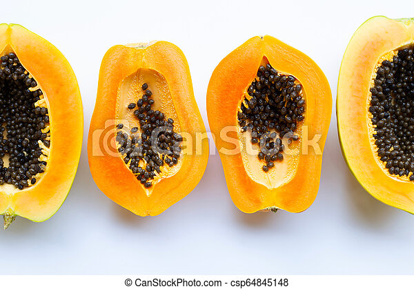 Papaya fruit on a white background. - csp64845148