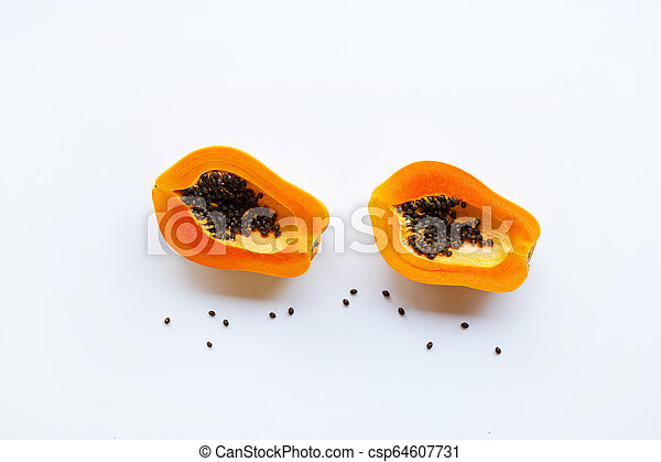 Papaya fruit on a white background. - csp64607731