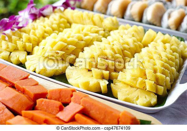 Ananas Buffet papaye, buffet, fruit dragon, ananas, ligne. espèce, papaye
