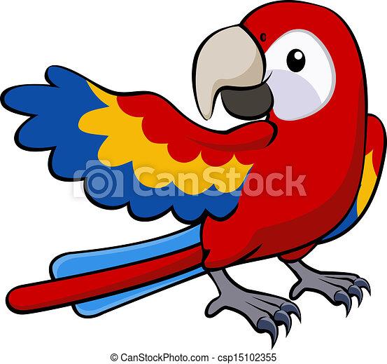 papegoja, illustration, röd - csp15102355